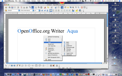 Using Writerwith Aqua OpenOffice.org